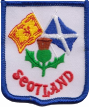 Scotland Thistle & Flags Embroidered Badge (a144)